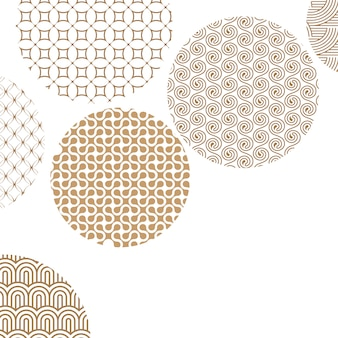 Golden circles with different geometric patterns on white with clipping mask