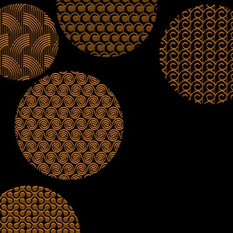 Golden circles with different patterns on black with clipping mask