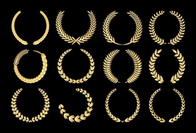 黄金円形円形ローレル葉と小麦 Premiumベクター