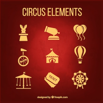 Golden circus elements pack in a flat design