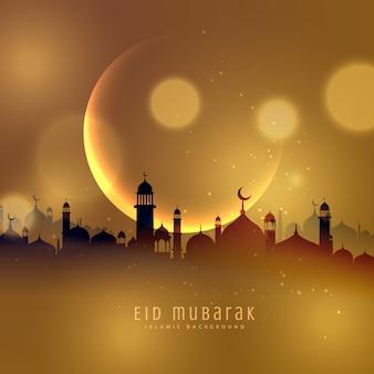 Golden city background of eid mubarak