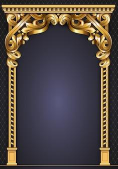 Золотая классическая рамка в стиле рококо в стиле барокко.