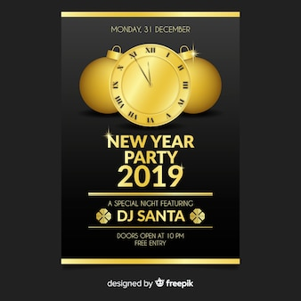 Golden clock new year party poster template