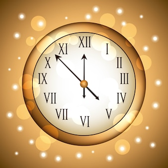 Golden clock rounded with glitter sparkle gold