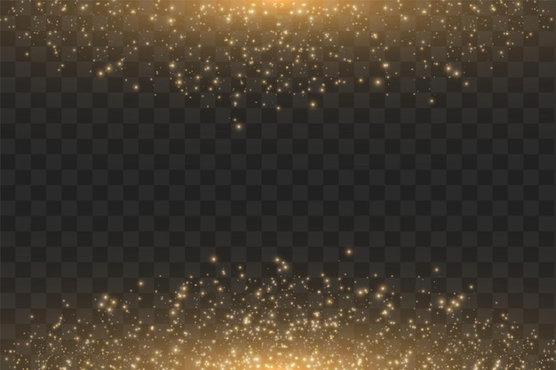Золотое облако блеск волны абстрактные иллюстрации. белая звездная пыль след сверкающих частиц, изолированные на прозрачном фоне.