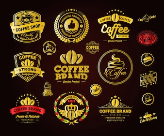 Golden Coffee Logos Badges and Labels Element