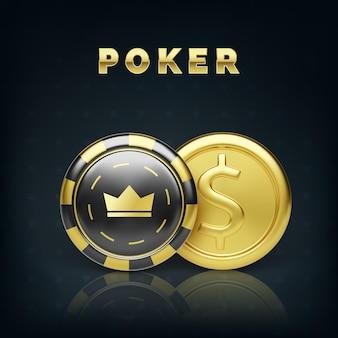 Золотая монета и фишка казино. реалистичная игровая фишка золотая монета. игровые деньги. векторная иллюстрация