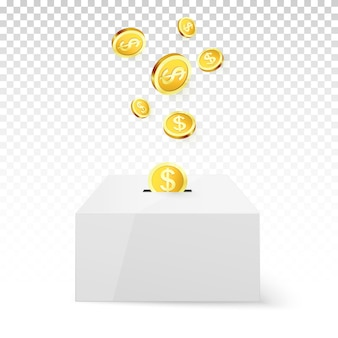 Golden coin drop into money box