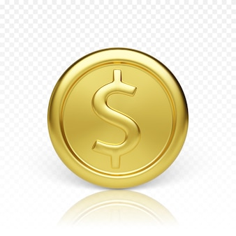 Вид спереди золотая монета. реалистичная визуализация глянцевой металлической монеты. финансы и деньги. векторная иллюстрация