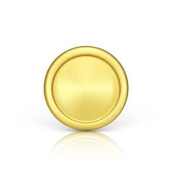 ゴールデンコイン正面図。金属コインのリアルなレンダリング。財政とお金。白い背景で隔離のベクトル図