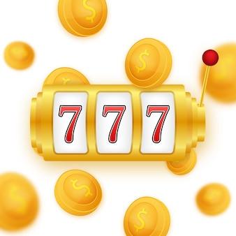 金の背景に金のコインジャックポットが当たる。ベクトルアイコン。黄金の背景。カジノの大当たり。