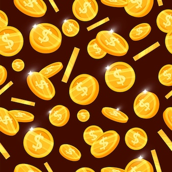 돈을 비행 황금 동전 원활한 패턴