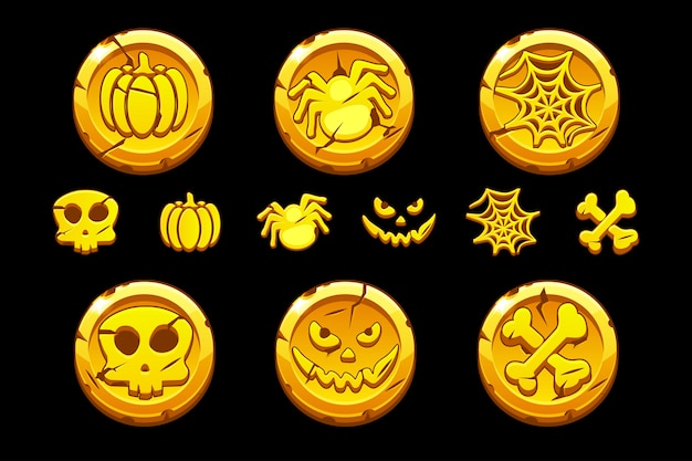 Golden coin. set cartoon coins with halloween symbols for playing game ui