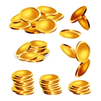 Golden coin stack, heap and falling set
