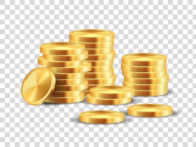 ゴールデンコインスタック。カジノでたくさん勝つための現実的な金の1ドル硬貨ゲームテンプレート。分離されたベクトル3d現金