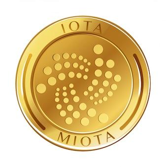 Golden coin on white background