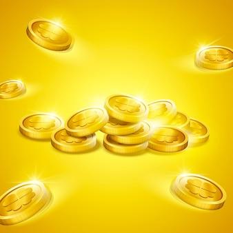 3dイラストの幸運なクローバーパターンと黄金のコイン