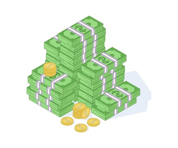황금 동전과 종이 달러 그림입니다. 흩어져 있는 번들, 서로 다른 면이 격리된 상태로 쌓임