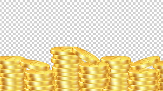 Golden coins background. isolated realictic money.  coin pile transparent banner.