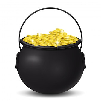 Golden coins on cauldron st. patrick's day