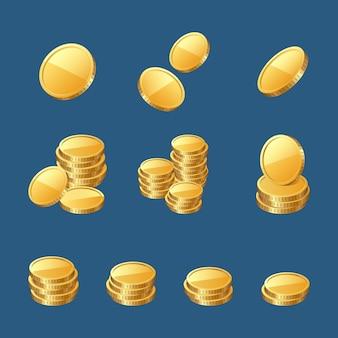 Set di icone d'oro monete d'oro o denaro contante