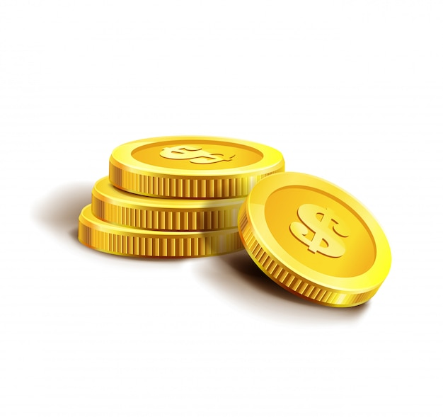 Golden coins isolated on white.