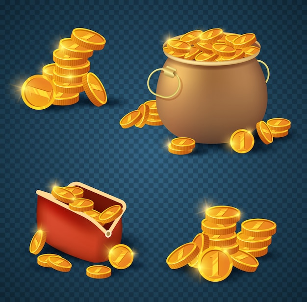 Golden coins in old bronze pot and purse on transparent