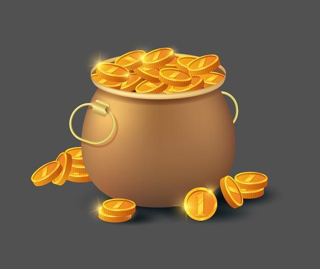 Golden coins in old bronze pot