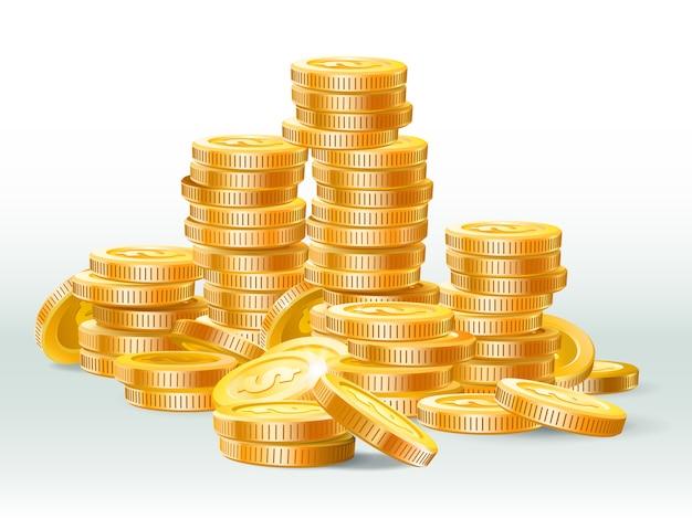 Куча золотых монет. золотая монета доллар, стопка денег и золотые кучи наличных реалистичные иллюстрации