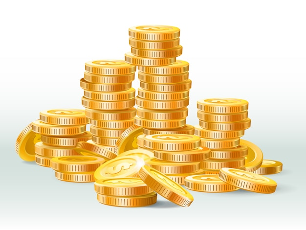 Golden coins pile. gold coin dollar, money stack and gold cash heap realistic illustration