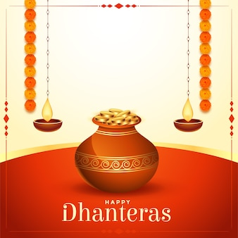 Golden coins pot happy dhanteras festival card