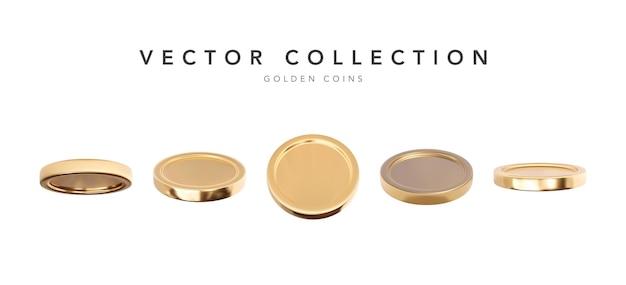さまざまな位置、イラストで白い背景に分離された黄金のコインセット