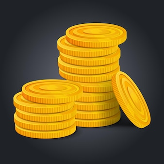 Golden coins stack on black background. colorful glossy pile of money money realistic game asset. vector stock illustration