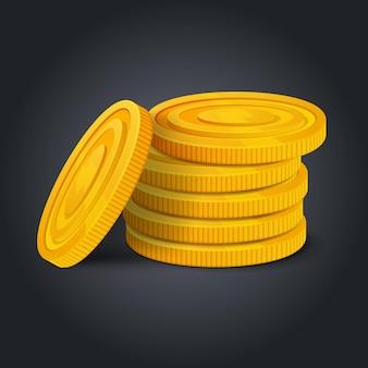 Стек золотых монет, изолированные на черном