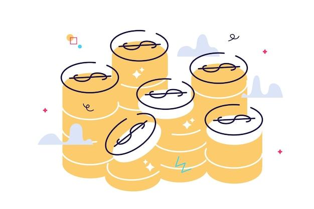 Золотые монеты стек векторные графические иллюстрации. монеты деньги сложены, изолированные на белом фоне