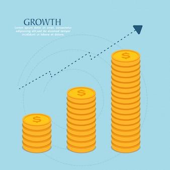 Pile di monete d'oro che mostrano crescita, vettore per il concetto di business.