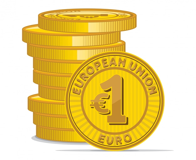 Golden coins with euro symbol