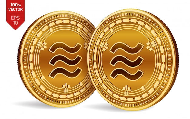 Golden coins with libra symbol isolated on white