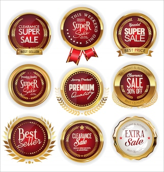 A golden collection of various badges and labels