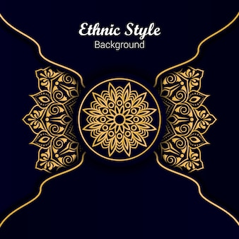 Golden color ethnic style mandala design