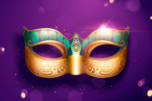 Golden color mask with jewelry on purple glitter background in 3d illustration