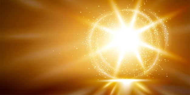 金色の放射状の光る効果