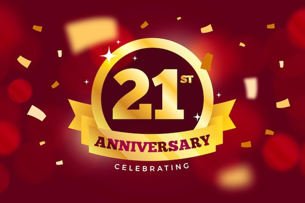 Golden colored 21 anniversary background Free Vector