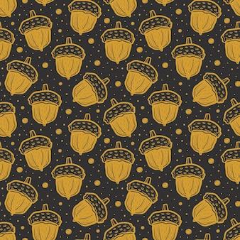 金色のどんぐり。シームレスパターン