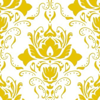 Golden colored vintage wallpaper. seamless vector background.