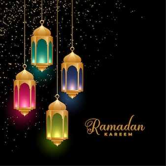 Golden colorful islamic lanterns ramadan kareem background