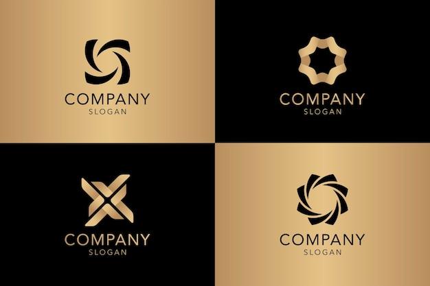 Vettore dorato della raccolta del logo dell'azienda