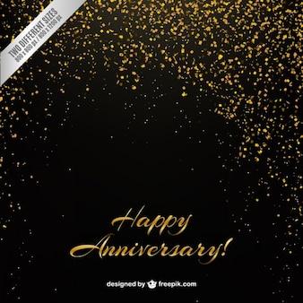 Golden confetti anniversary background