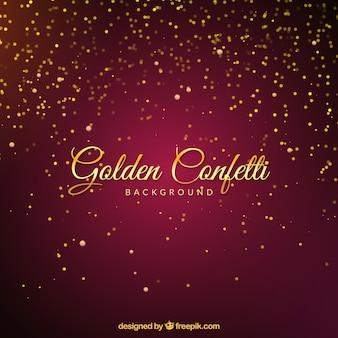 Golden confetti background in defocused style