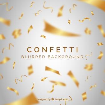 Golden confetti background in realistic style